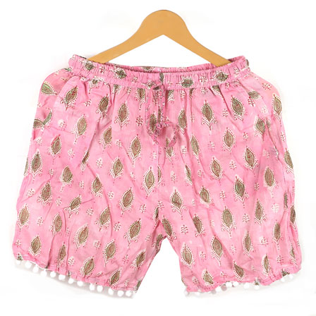 Green Pink Flower Cotton Block Print Short-14654