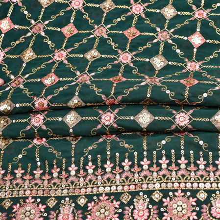 Green Pink Flower Georgette Panel Work Fabric-19229