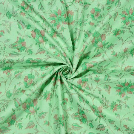 Green Pink Flower Jam Cotton Print Fabric-28205