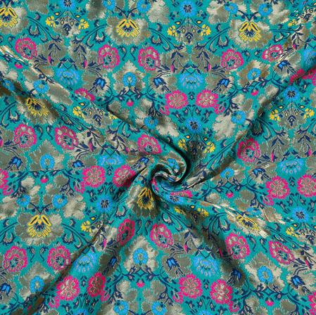 Green Pink Kinkhab Banarasi Brocade Silk Fabric-12822