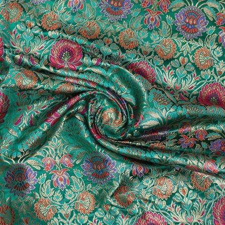 Green Pink Kinkhab Banarasi Silk Fabric-9330