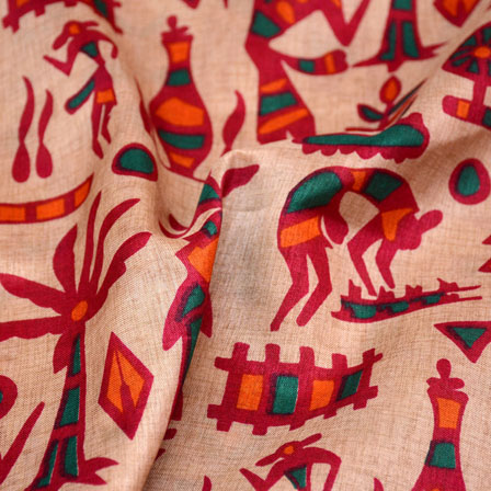 Green-Pink and Beige burleigh Pattern Kalamkari Manipuri Silk Fabric 7566