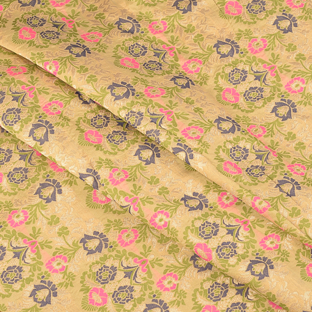 Green-Pink and Blue Floral Digital Brocade Fabric-24073