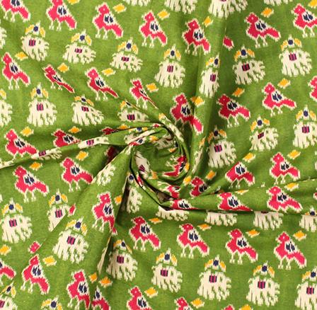 Green-Pink and Cream Elephant Design Kalamkari Cotton Fabric-10010