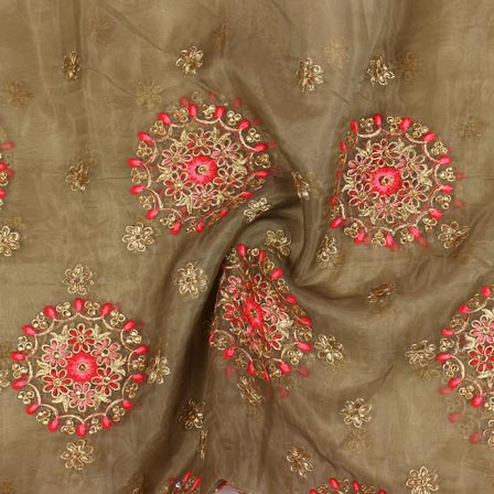 Green Pink and Golden Circle Embroidery Organza Silk Fabric-51712