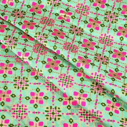 Green-Pink and Golden Digital Brocade Fabric-24089