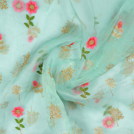 Blue-Pink and Golden Floral Embroidery Organza Fabric-51011