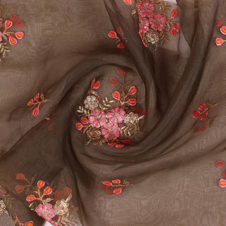 Green Pink and Golden Floral Embroidery Organza Silk Fabric-51688
