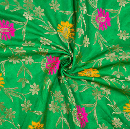 Green Pink and Golden Floral Satin Brocade Silk Fabric-12690