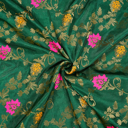 Green Pink and Golden Floral Satin Brocade Silk Fabric-12702