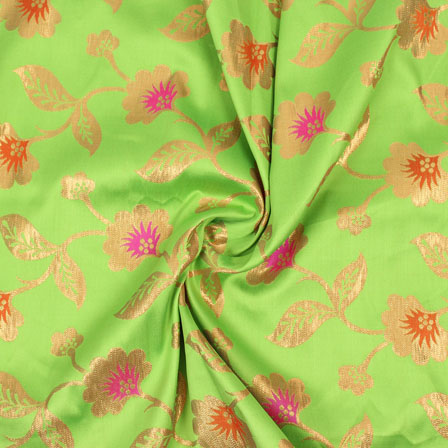 Green Pink and Golden Floral Brocade Silk Fabric-9080