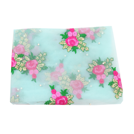 Green-Pink and Golden Flower Design Embroidery Net Fabric -60093