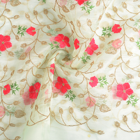 Green-Pink and Golden Flower Embroidery Organza Fabric-51154