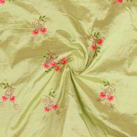 Green Pink and Golden Jalbari Embroidery Silk Fabric-61043