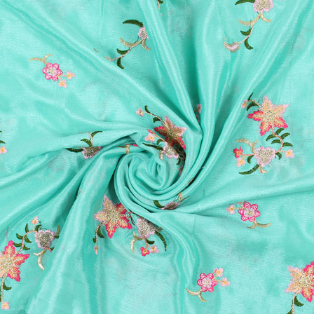 Green Pink and Green Flower Embroidery Chinon Fabric-35001