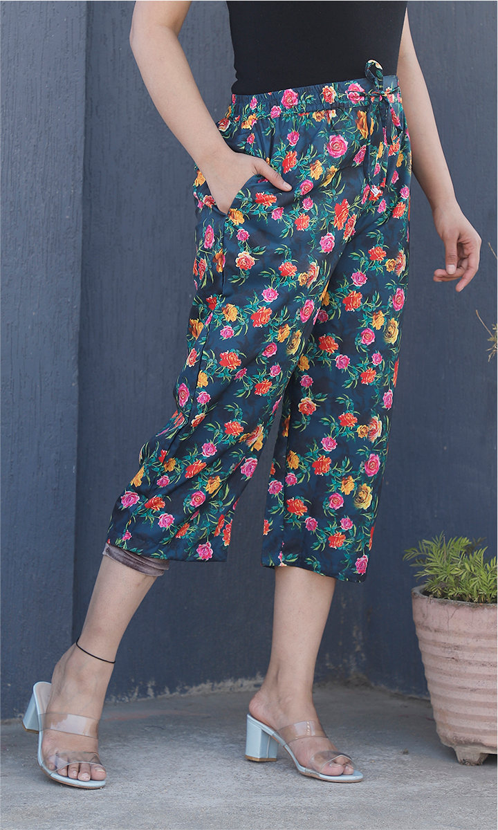 Green Pink and Orange Crepe Silk Women culottes-34449