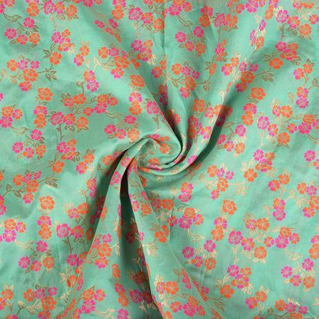 Green-Pink and Orange Floral Digital Brocade Fabric-24079