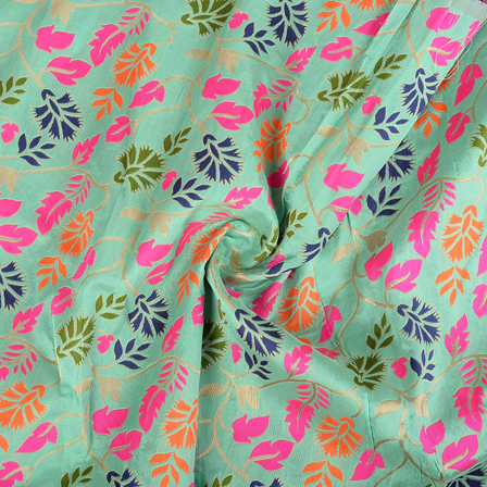 Green-Pink and Orange Floral Digital Brocade Fabric-24080