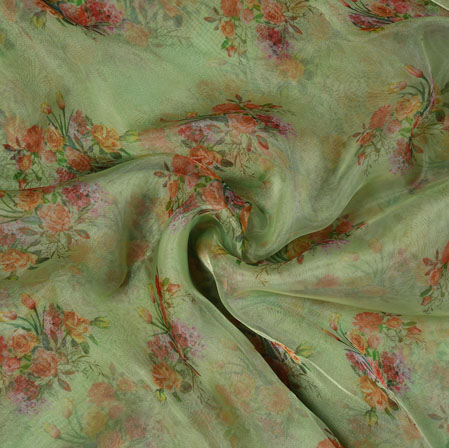 Green Pink and Orange Floral Organza Silk Fabric-22118