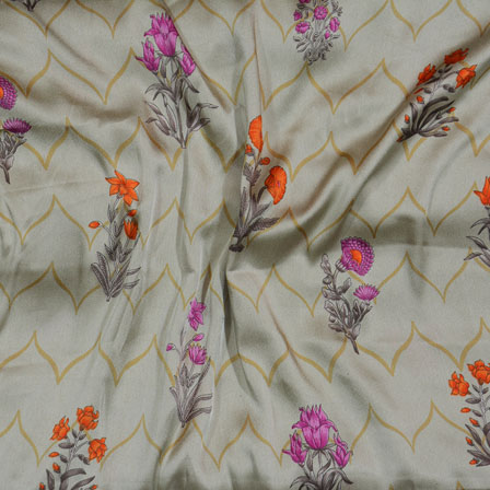 Green Pink and Orange Flower Japan Satin Fabric-18194