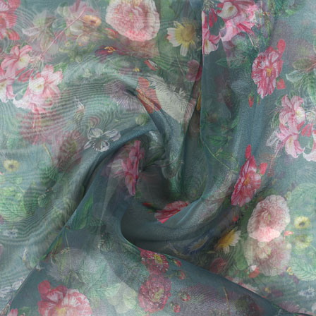 Green Pink and Peach Digital Organza Silk Fabric-51529