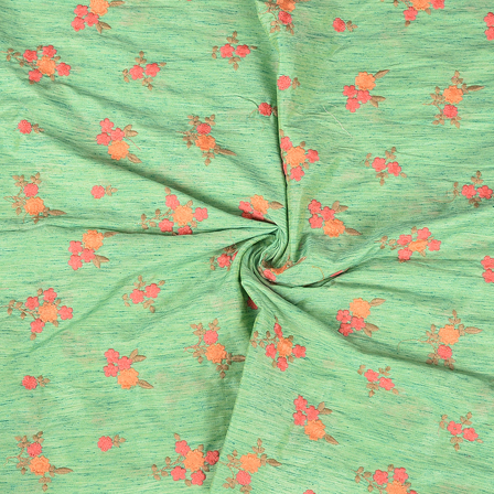 Green-Pink and Peach Flower Pattern Silk Embroidery Fabric-60193