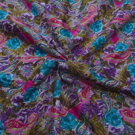 Green-Pink and Purple Paisley Pattern Kalamkari Manipuri Silk-16100