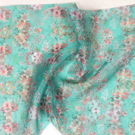 Green Pink and White Digital Floral Organza Silk Fabric-51742