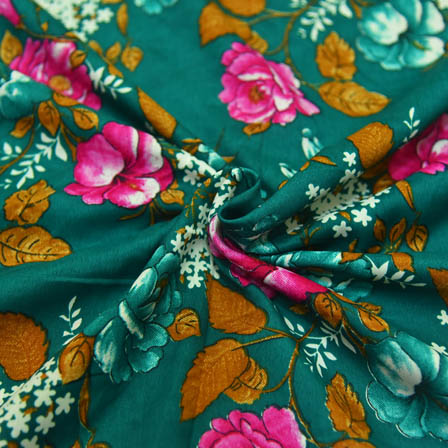 Green-Pink and White Floral Design  Crepe Fabric-18004