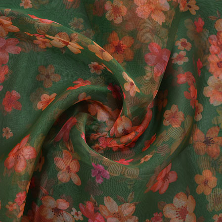Green Pink and White Flower Organza Silk Fabric-22264