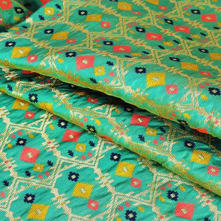 Green Pink and Yellow Floral Banarasi Silk Fabric-9429