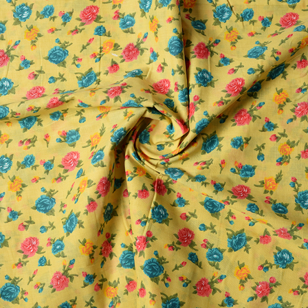 Green-Pink and Yellow Floral Design Block Print Cotton Fabric-14434