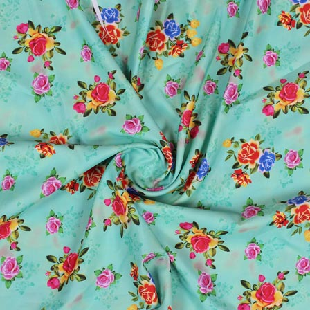 Green Pink and Yellow Flower Crepe Silk Fabric-18261