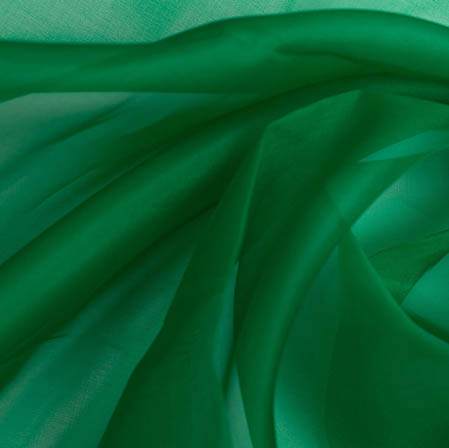 Green Plain Organza Silk Fabric-51787