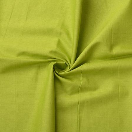 Green Plain Slub Cotton Handloom Fabric-40207