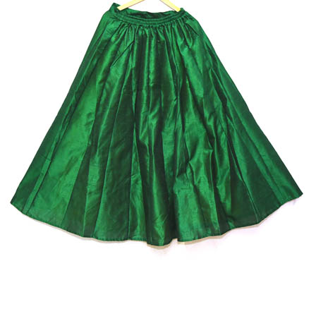 Green Pleats Design Dupion Silk Skirt-23030