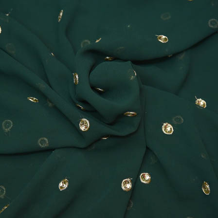 Green Poly Georgette Base Fabric With Golden Dot Embroidery-60049
