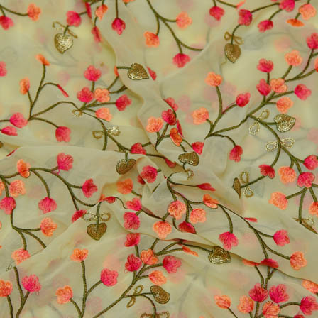 Green Poly Georgette Base Fabric With Pink Floral Embroidery-60033