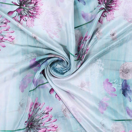Green Purple Crepe Silk Fabric-18160