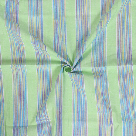Green-Purple and Blue Dyed Stripe Handloom Cotton Khadi Fabric-40023