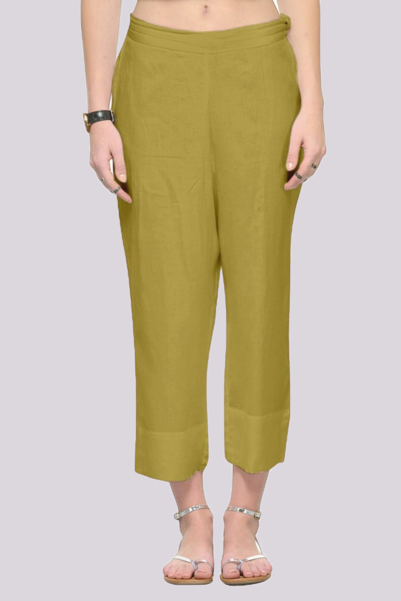 Green Rayon Ankle Length Pant-33688