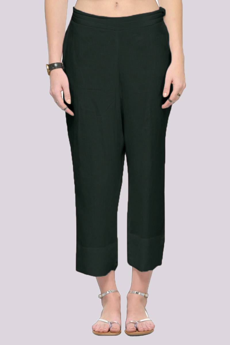 Green Rayon Ankle Length Pant-33689