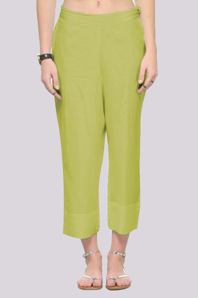 Green Rayon Ankle Length Pant-33692