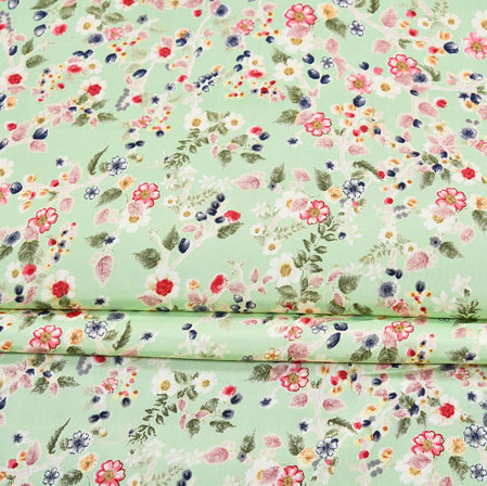 Green Red Digital Flower Print Georgette Fabric-41200