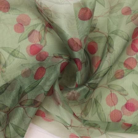 Green Red Digital Organza Silk Fabric-51582