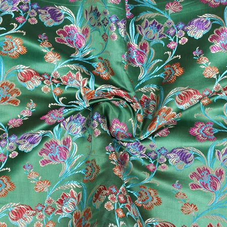 Green Red Floral Digital Banarasi Silk Fabric-9195