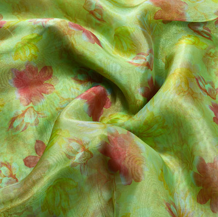 Green Red Floral Organza Silk Fabric-22080
