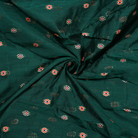 Green Red Flower Chanderi Multi Jacquard Fabric-28350