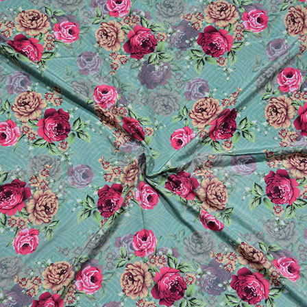 Green Red Flower Crepe Silk Fabric-18240