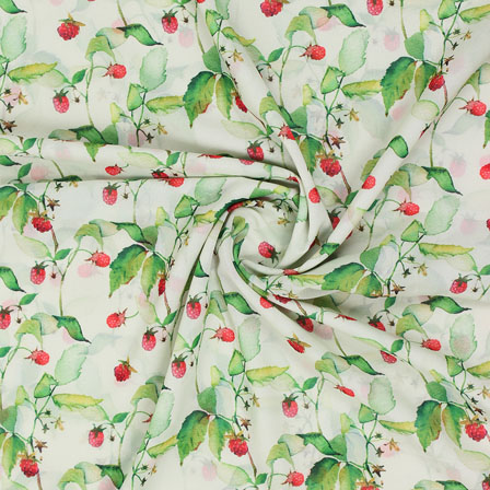 Green Red Flower Georgette Silk Fabric-15246